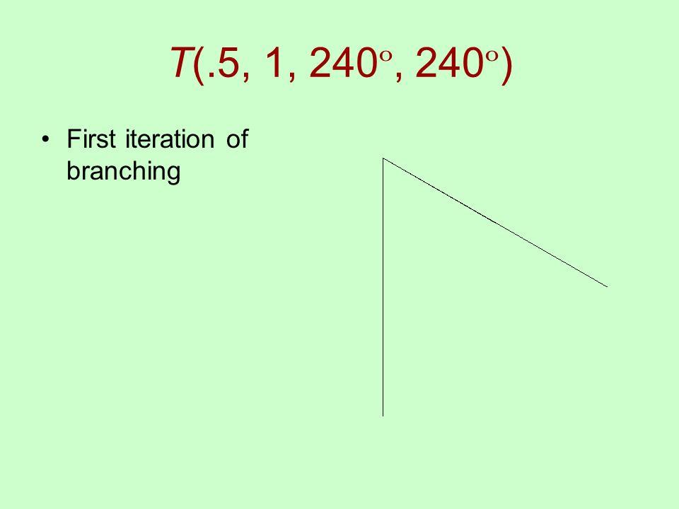 T(.5, 1, 240 º, 240 º ) First iteration of branching