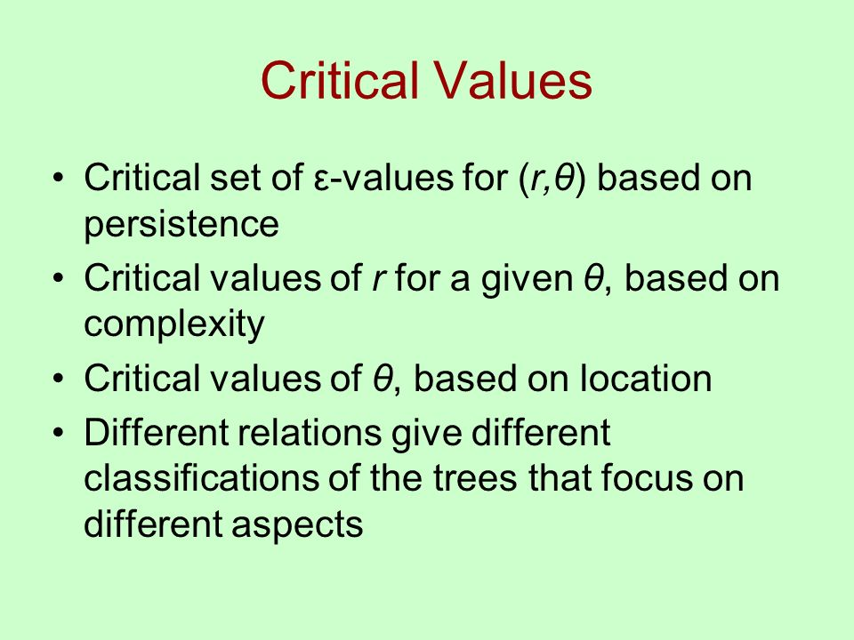 Critical Values Critical set of ε-values for (r,θ) based on persistence Critical values of r for a given θ, based on complexity Critical values of θ, based on location Different relations give different classifications of the trees that focus on different aspects