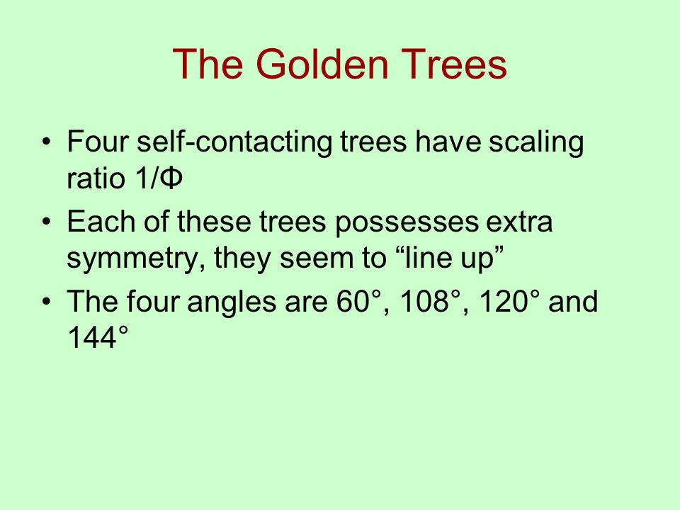 The Golden Trees Four self-contacting trees have scaling ratio 1/Φ Each of these trees possesses extra symmetry, they seem to line up The four angles are 60°, 108°, 120° and 144°