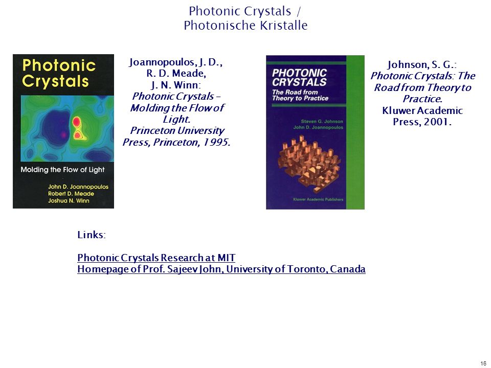 16 Photonic Crystals / Photonische Kristalle Joannopoulos, J. D., R. D. Meade, J. N. Winn: Photonic Crystals – Molding the Flow of Light. Princeton Un