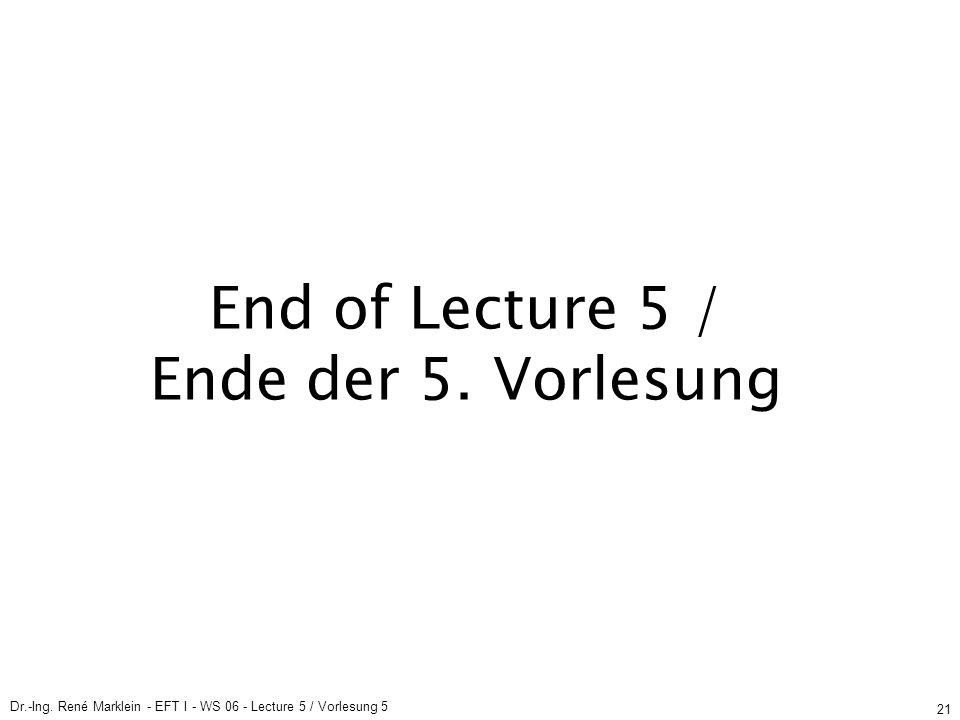 Dr.-Ing. René Marklein - EFT I - WS 06 - Lecture 5 / Vorlesung 5 21 End of Lecture 5 / Ende der 5.