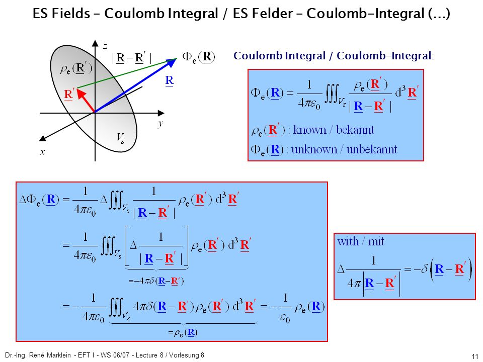 Dr.-Ing. René Marklein - EFT I - WS 06/07 - Lecture 8 / Vorlesung 8 11 Coulomb Integral / Coulomb-Integral: ES Fields – Coulomb Integral / ES Felder –