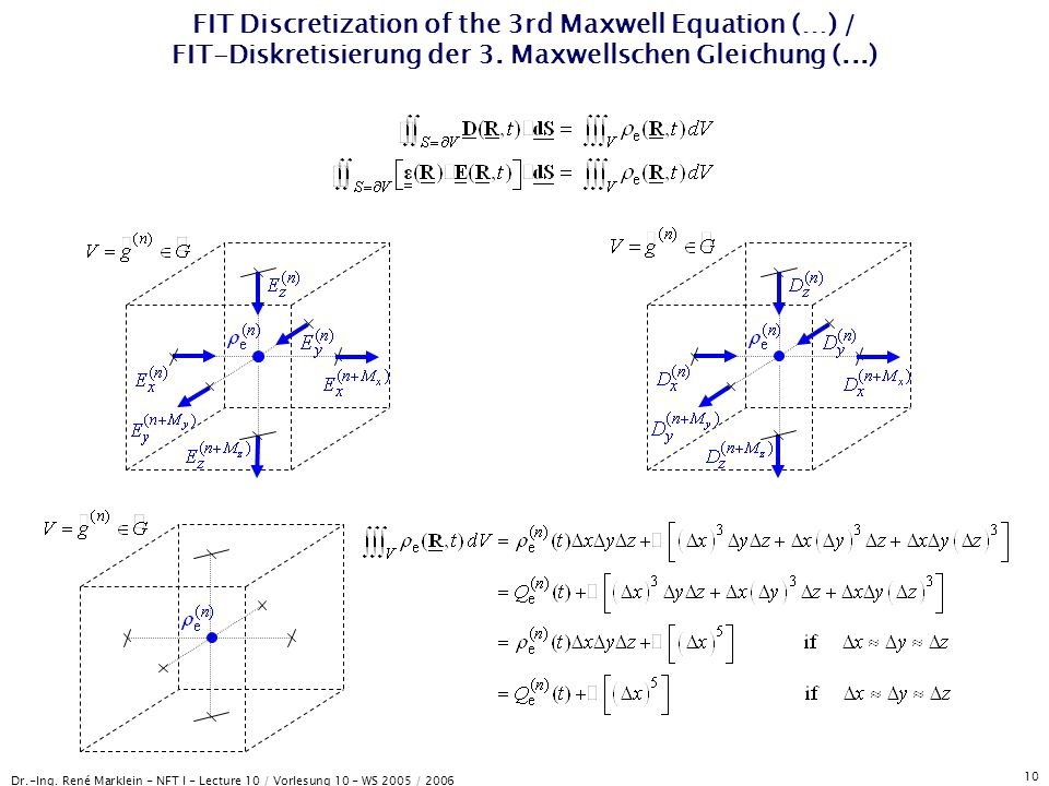 Dr.-Ing. René Marklein - NFT I - Lecture 10 / Vorlesung 10 - WS 2005 / 2006 10 FIT Discretization of the 3rd Maxwell Equation (…) / FIT-Diskretisierun
