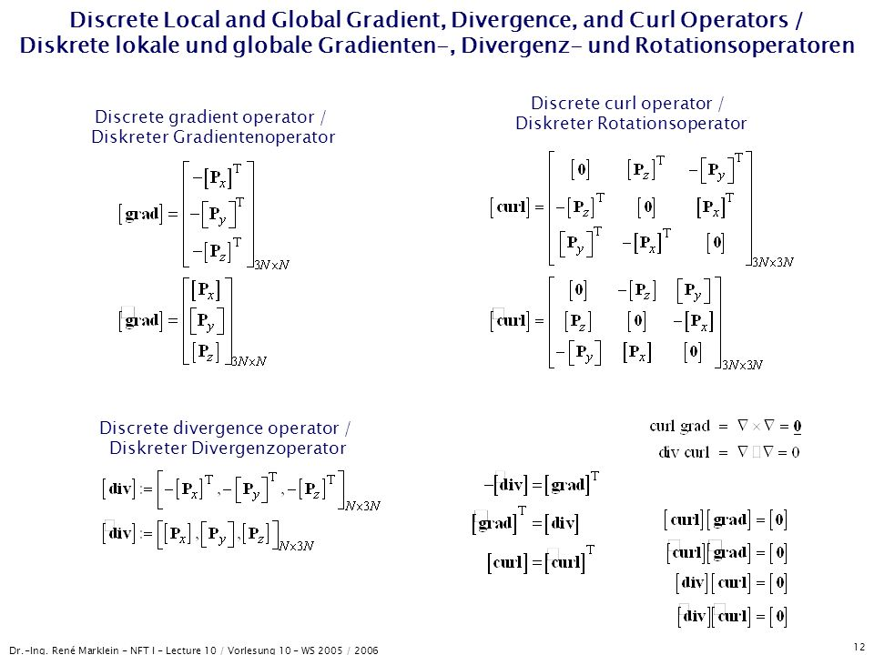 Dr.-Ing. René Marklein - NFT I - Lecture 10 / Vorlesung 10 - WS 2005 / 2006 12 Discrete Local and Global Gradient, Divergence, and Curl Operators / Di
