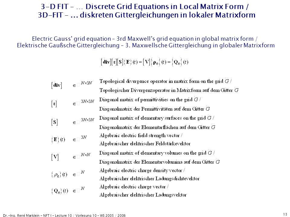 Dr.-Ing. René Marklein - NFT I - Lecture 10 / Vorlesung 10 - WS 2005 / 2006 13 3-D FIT – … Discrete Grid Equations in Local Matrix Form / 3D-FIT –...
