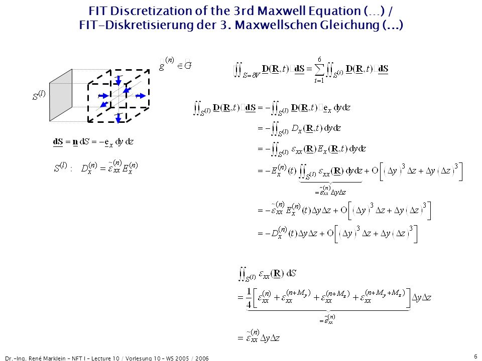 Dr.-Ing. René Marklein - NFT I - Lecture 10 / Vorlesung 10 - WS 2005 / 2006 6 FIT Discretization of the 3rd Maxwell Equation (…) / FIT-Diskretisierung