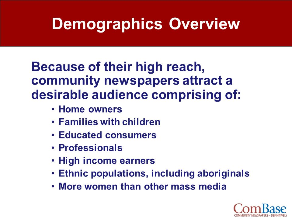 Demographics Overview Because of their high reach, community newspapers attract a desirable audience comprising of: Home owners Families with children