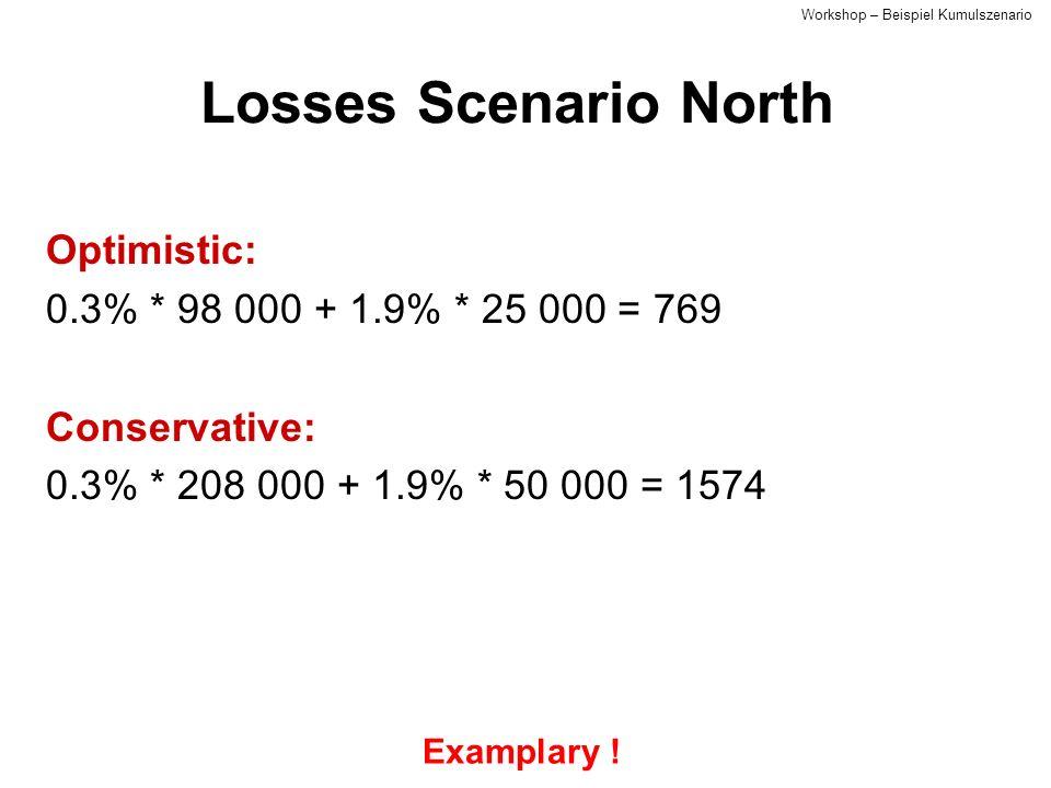 Losses Scenario North Optimistic: 0.3% * 98 000 + 1.9% * 25 000 = 769 Conservative: 0.3% * 208 000 + 1.9% * 50 000 = 1574 Examplary .