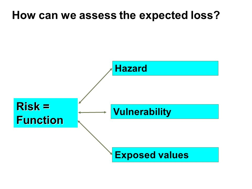 How can we assess the expected loss Risk = Function Hazard Vulnerability Exposed values