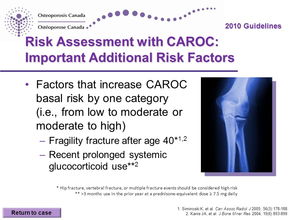 2010 Guidelines Risk Assessment with CAROC: Important Additional Risk Factors Factors that increase CAROC basal risk by one category (i.e., from low t