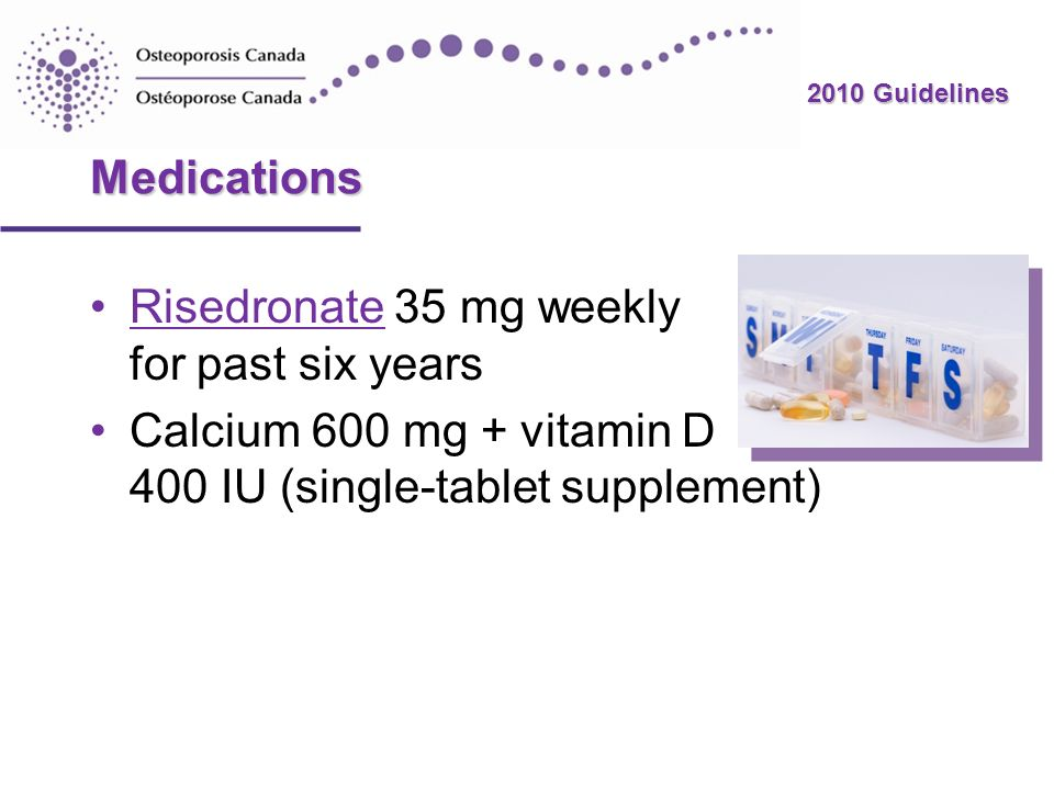 2010 Guidelines Medications Risedronate 35 mg weekly for past six yearsRisedronate Calcium 600 mg + vitamin D 400 IU (single-tablet supplement)