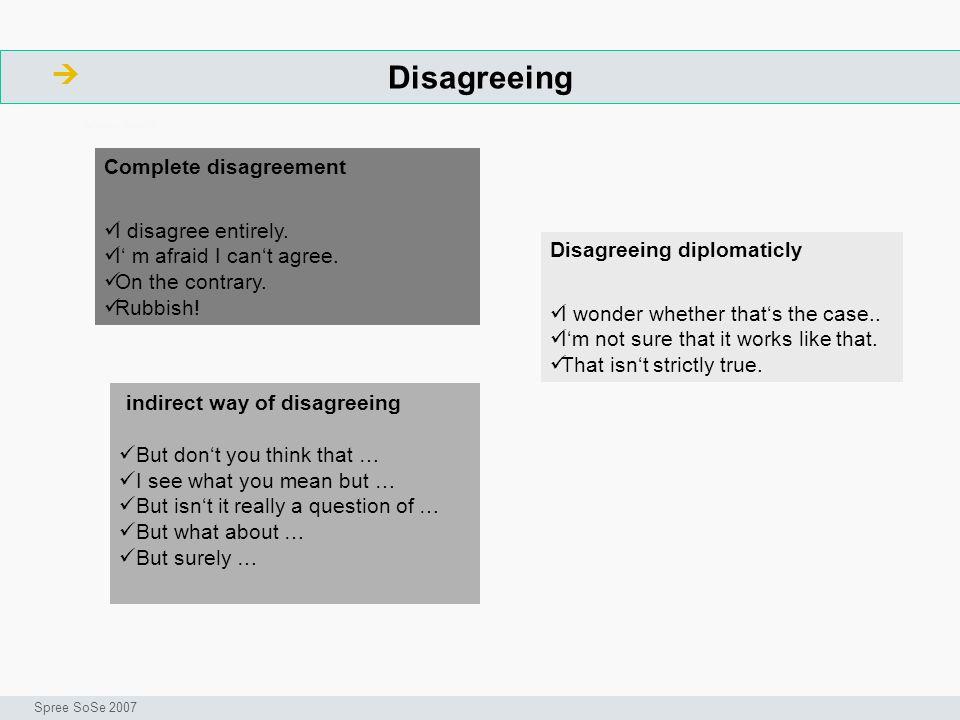 Disagreeing ArbeitsschritteW Seminar I-Prax: Inhaltserschließung visueller Medien, 5.10.2004 Spree SoSe 2007 indirect way of disagreeing But dont you