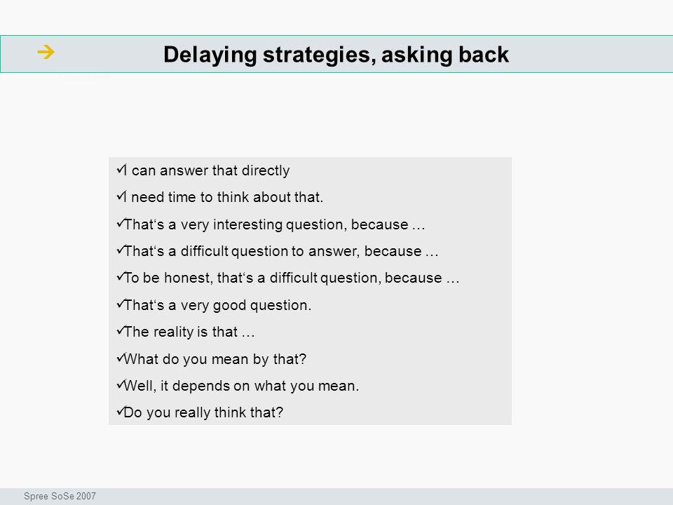 Delaying strategies, asking back ArbeitsschritteW Seminar I-Prax: Inhaltserschließung visueller Medien, 5.10.2004 Spree SoSe 2007 I can answer that di
