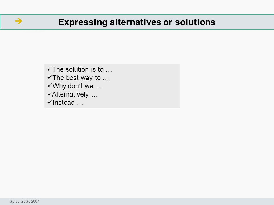 Expressing alternatives or solutions ArbeitsschritteW Seminar I-Prax: Inhaltserschließung visueller Medien, 5.10.2004 Spree SoSe 2007 The solution is