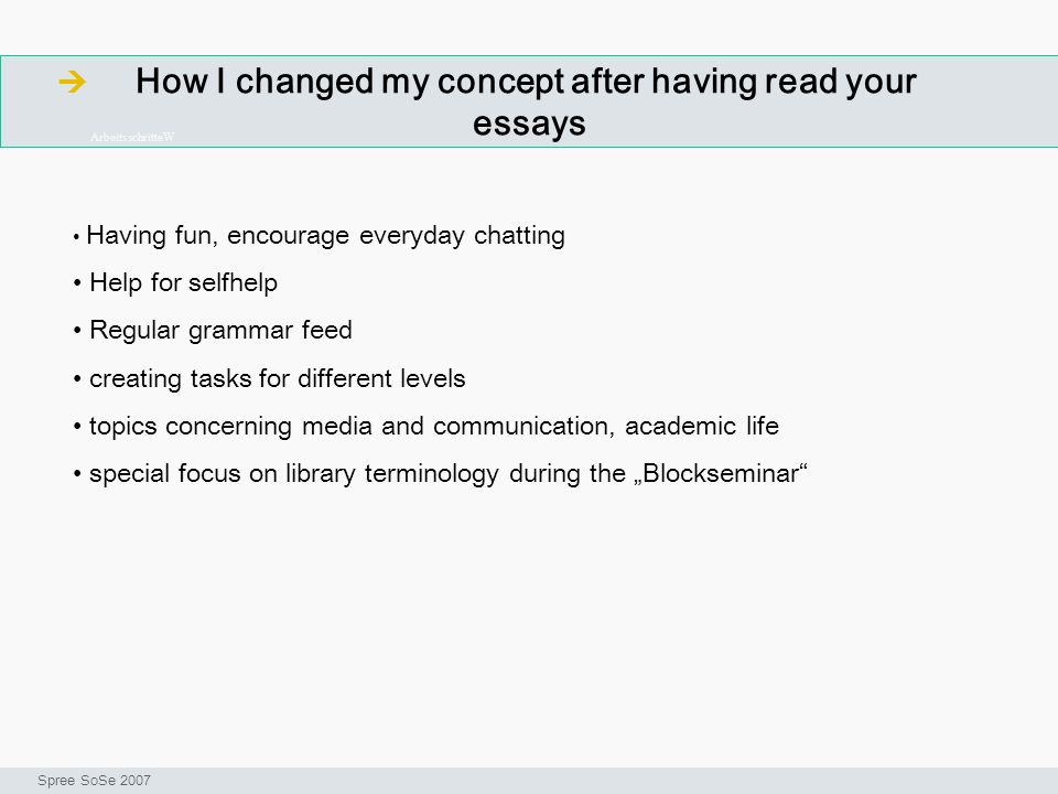 How I changed my concept after having read your essays ArbeitsschritteW Seminar I-Prax: Inhaltserschließung visueller Medien, 5.10.2004 Spree SoSe 200