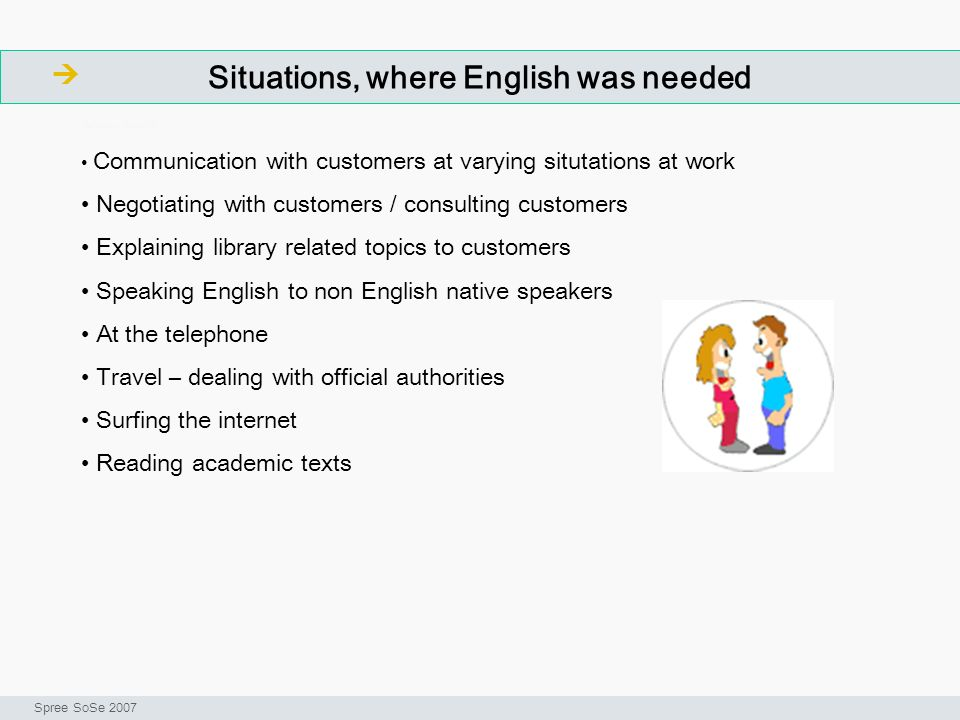 Situations, where English was needed ArbeitsschritteW Seminar I-Prax: Inhaltserschließung visueller Medien, 5.10.2004 Spree SoSe 2007 Communication with customers at varying situtations at work Negotiating with customers / consulting customers Explaining library related topics to customers Speaking English to non English native speakers At the telephone Travel – dealing with official authorities Surfing the internet Reading academic texts