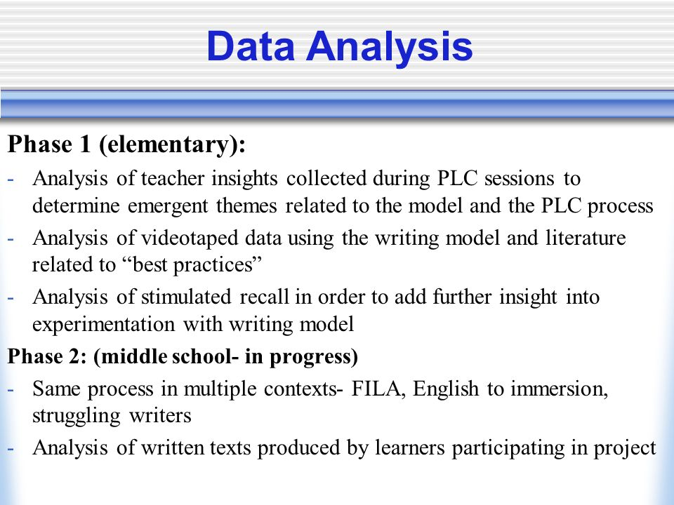 Data Analysis Phase 1 (elementary): -Analysis of teacher insights collected during PLC sessions to determine emergent themes related to the model and