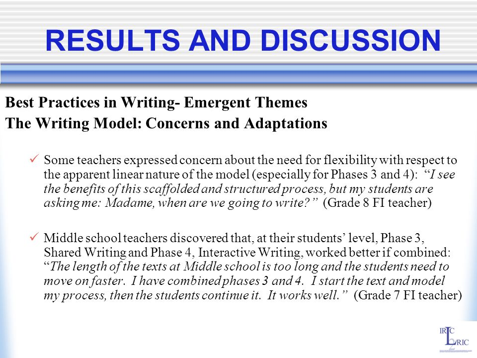 RESULTS AND DISCUSSION Best Practices in Writing- Emergent Themes The Writing Model: Concerns and Adaptations Some teachers expressed concern about th