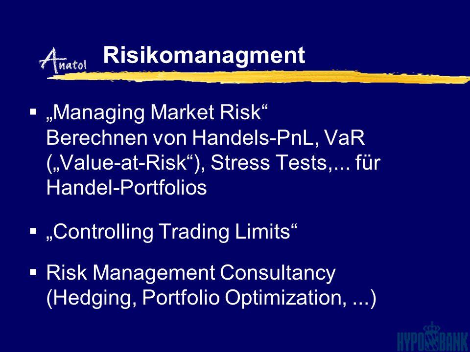 Managing Market Risk Berechnen von Handels-PnL, VaR (Value-at-Risk), Stress Tests,... für Handel-Portfolios Controlling Trading Limits Risk Management