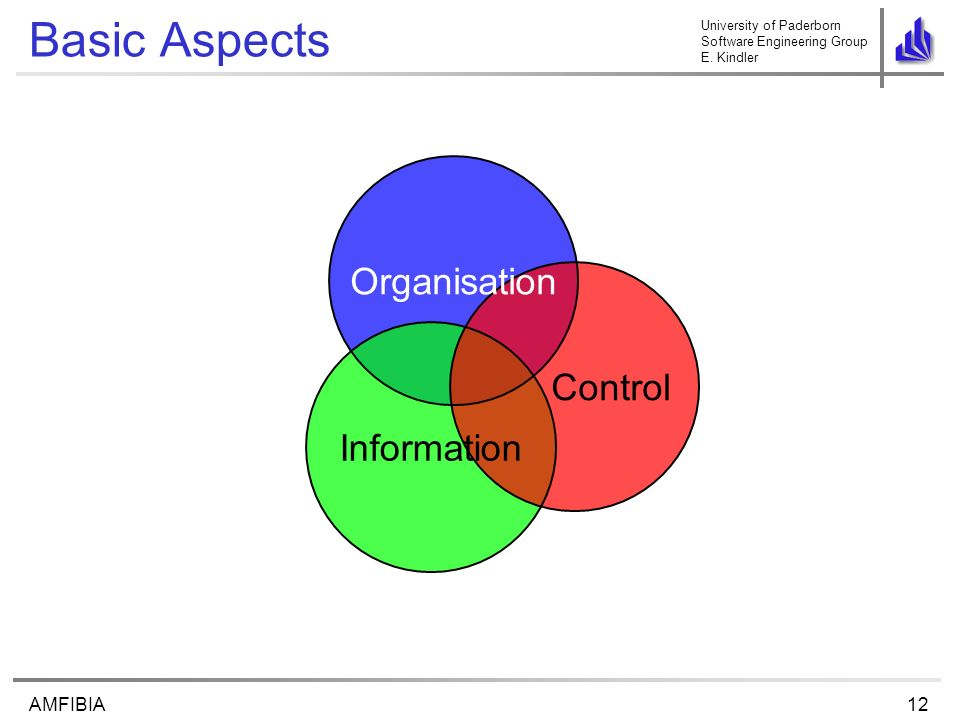 University of Paderborn Software Engineering Group E. Kindler 12AMFIBIA Basic Aspects Control Organisation Information