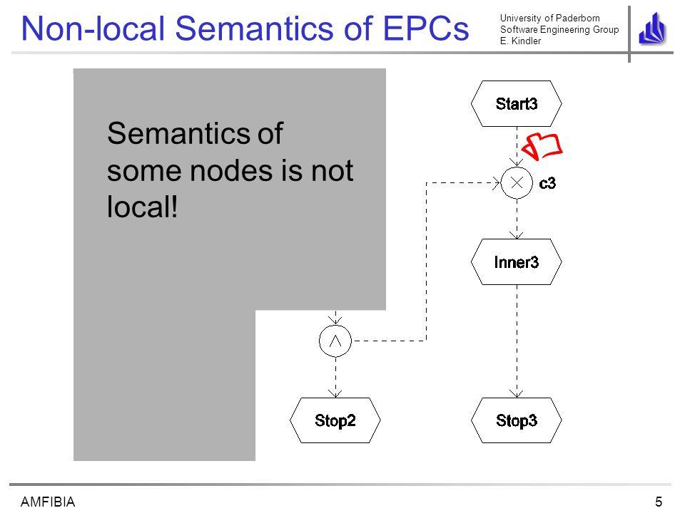 University of Paderborn Software Engineering Group E. Kindler 5AMFIBIA Non-local Semantics of EPCs Semantics of some nodes is not local!