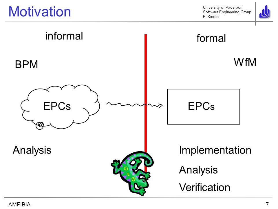 University of Paderborn Software Engineering Group E. Kindler 7AMFIBIA Motivation formal EPCs informal BPM WfM AnalysisImplementation Analysis Verific