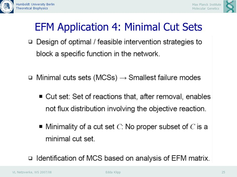 VL Netzwerke, WS 2007/08 Edda Klipp 25 Max Planck Institute Molecular Genetics Humboldt University Berlin Theoretical Biophysics EFM Application 4: Minimal Cut Sets