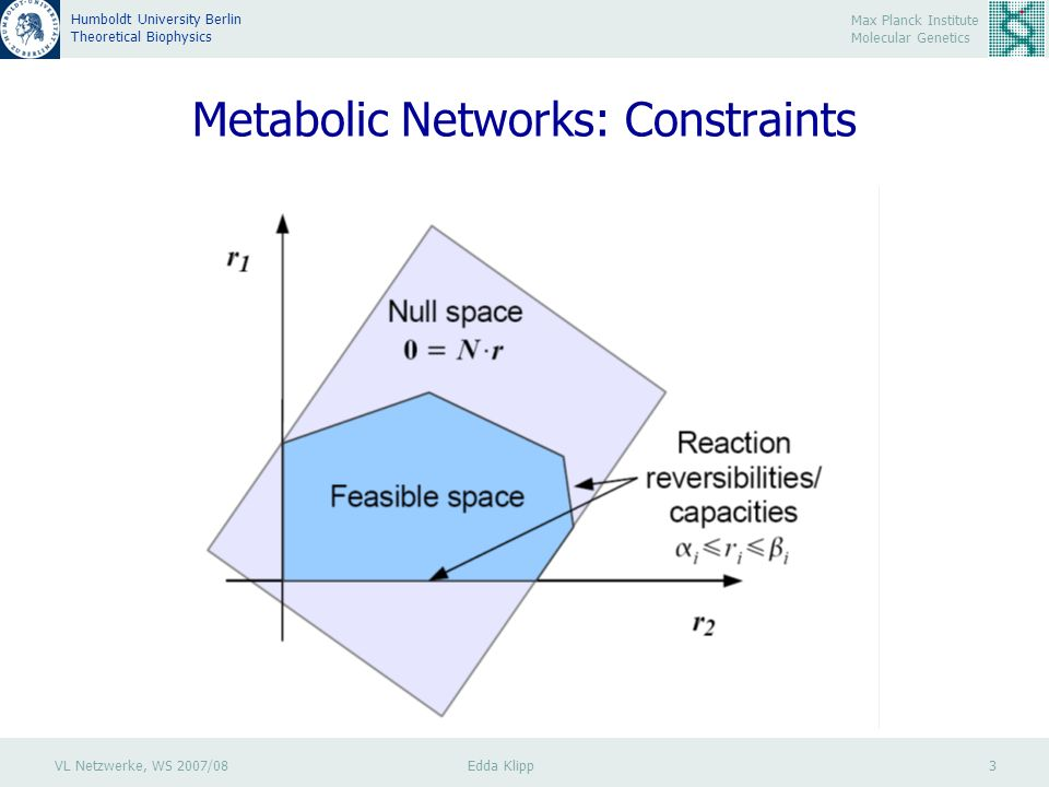 VL Netzwerke, WS 2007/08 Edda Klipp 3 Max Planck Institute Molecular Genetics Humboldt University Berlin Theoretical Biophysics Metabolic Networks: Constraints