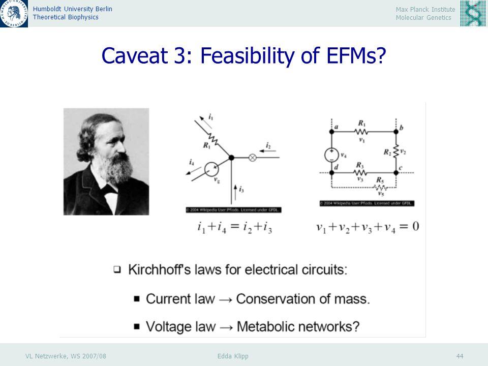VL Netzwerke, WS 2007/08 Edda Klipp 44 Max Planck Institute Molecular Genetics Humboldt University Berlin Theoretical Biophysics Caveat 3: Feasibility