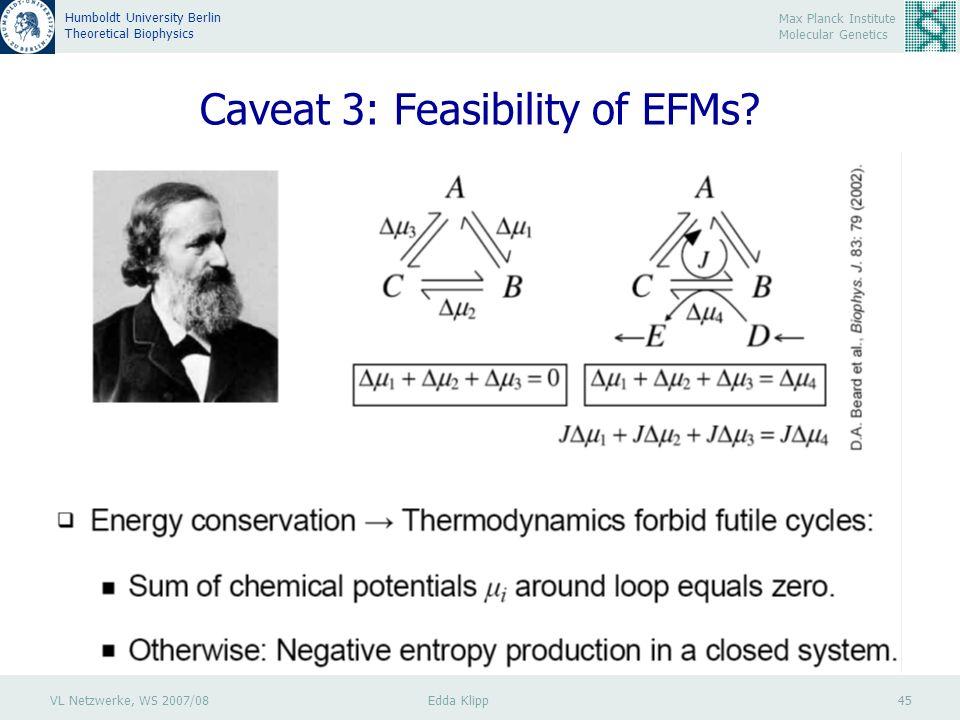 VL Netzwerke, WS 2007/08 Edda Klipp 45 Max Planck Institute Molecular Genetics Humboldt University Berlin Theoretical Biophysics Caveat 3: Feasibility