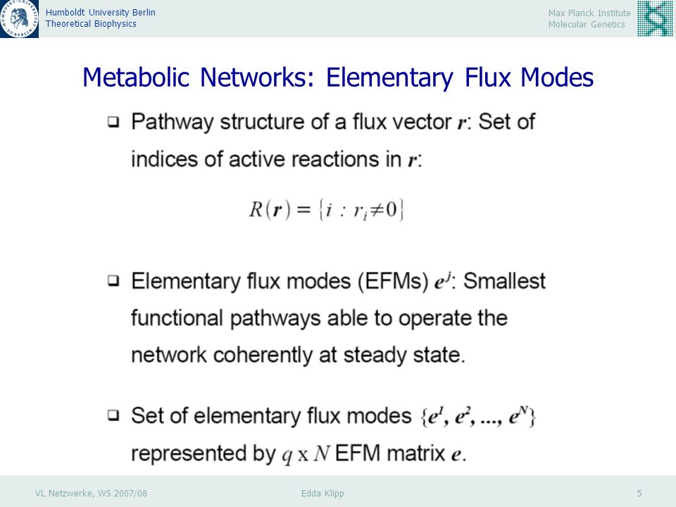 VL Netzwerke, WS 2007/08 Edda Klipp 5 Max Planck Institute Molecular Genetics Humboldt University Berlin Theoretical Biophysics Metabolic Networks: Elementary Flux Modes