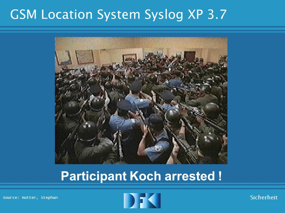 Source: Hutter, Stephan Sicherheit GSM Location System Syslog XP 3.7 Location Retrieval: Participant: Koch Contacting...
