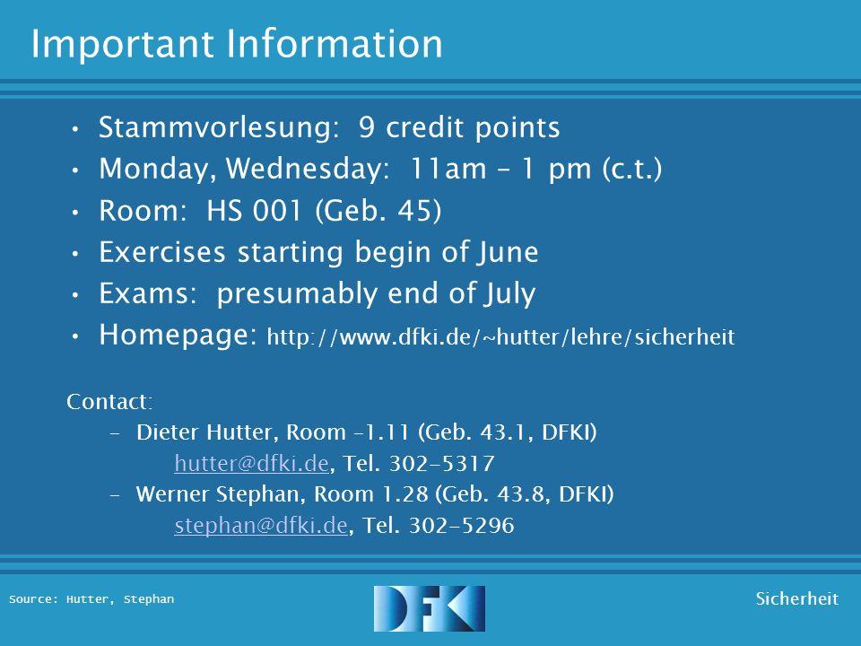 Source: Hutter, Stephan Sicherheit Sicherheit Stammvorlesung Sommersemester 2003 Dieter Hutter, Werner Stephan
