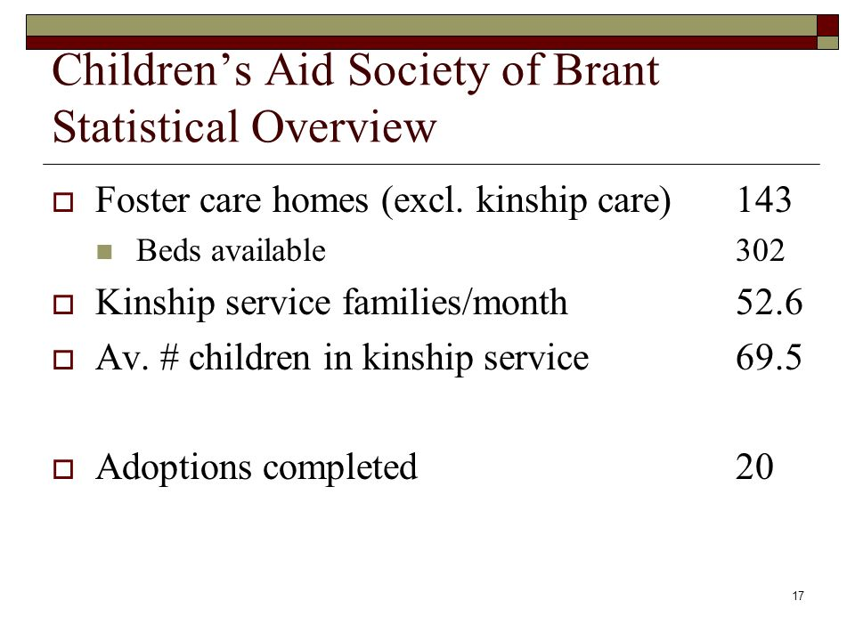 17 Childrens Aid Society of Brant Statistical Overview Foster care homes (excl.