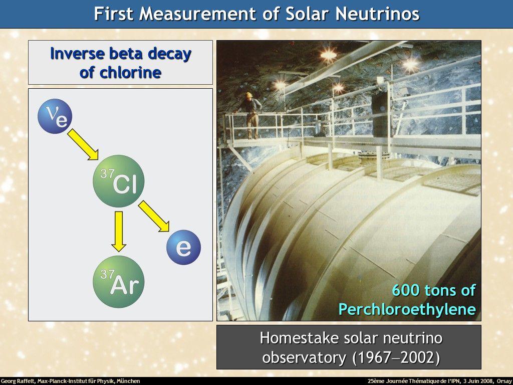 Georg Raffelt, Max-Planck-Institut für Physik, München25ème Journée Thématique de lIPN, 3 Juin 2008, Orsay Inverse beta decay of chlorine 600 tons of Perchloroethylene Homestake solar neutrino Homestake solar neutrino observatory (1967 2002) observatory (1967 2002) First Measurement of Solar Neutrinos