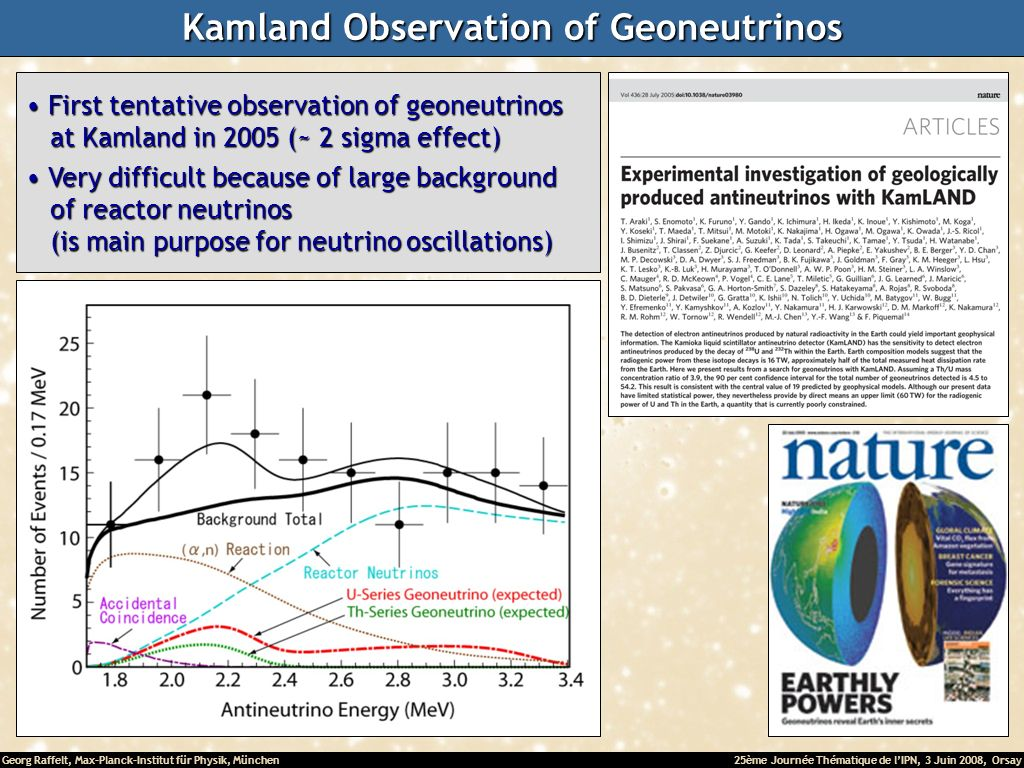 Georg Raffelt, Max-Planck-Institut für Physik, München25ème Journée Thématique de lIPN, 3 Juin 2008, Orsay Kamland Observation of Geoneutrinos First tentative observation of geoneutrinos First tentative observation of geoneutrinos at Kamland in 2005 (~ 2 sigma effect) at Kamland in 2005 (~ 2 sigma effect) Very difficult because of large background Very difficult because of large background of reactor neutrinos of reactor neutrinos (is main purpose for neutrino oscillations) (is main purpose for neutrino oscillations)