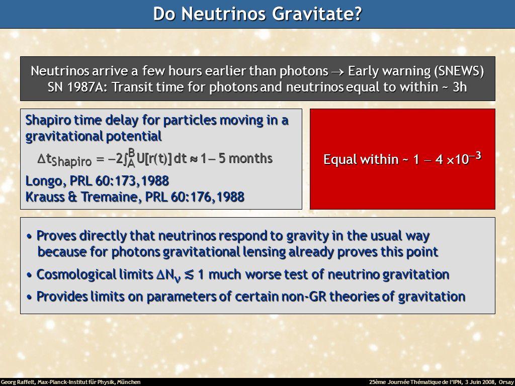 Georg Raffelt, Max-Planck-Institut für Physik, München25ème Journée Thématique de lIPN, 3 Juin 2008, Orsay Do Neutrinos Gravitate.