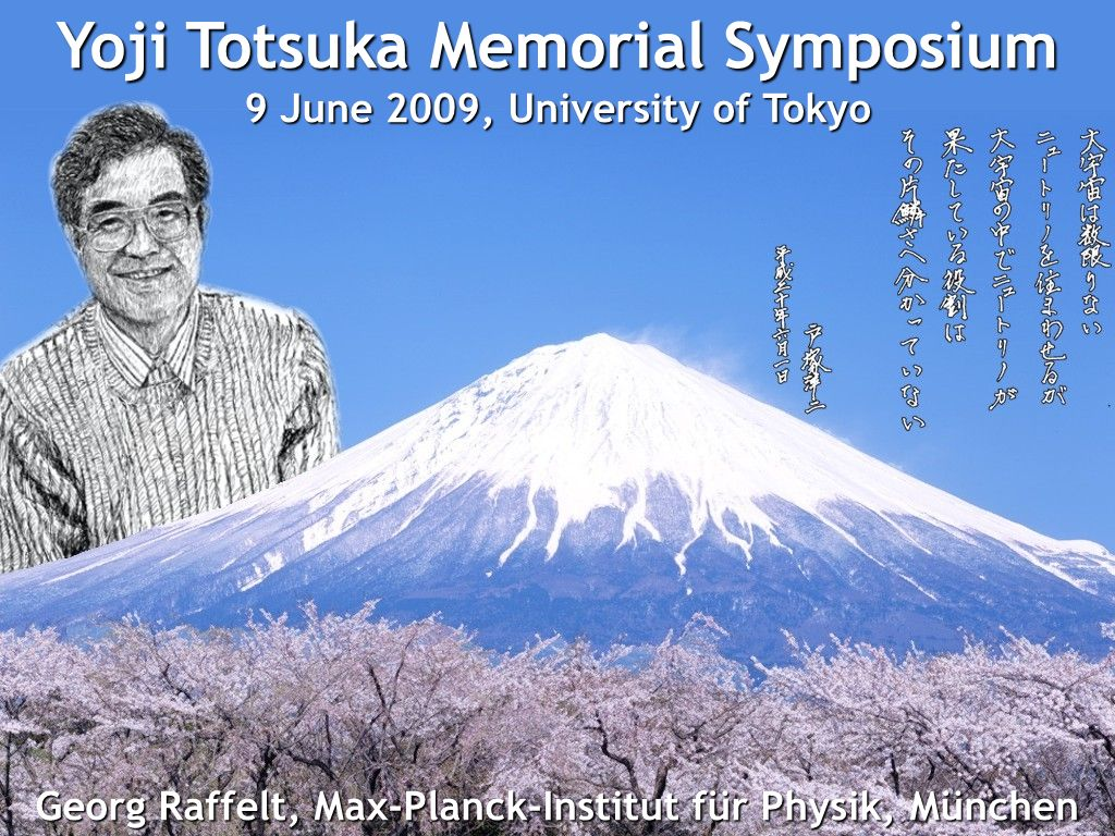Georg Raffelt, Max-Planck-Institut für Physik, München Totsuka Memorial Symposium, 9 June 2009, Tokyo Supernova Neutrinos Georg Raffelt, Max-Planck-Institut für Physik, München Yoji Totsuka Memorial Symposium 9 June 2009, University of Tokyo