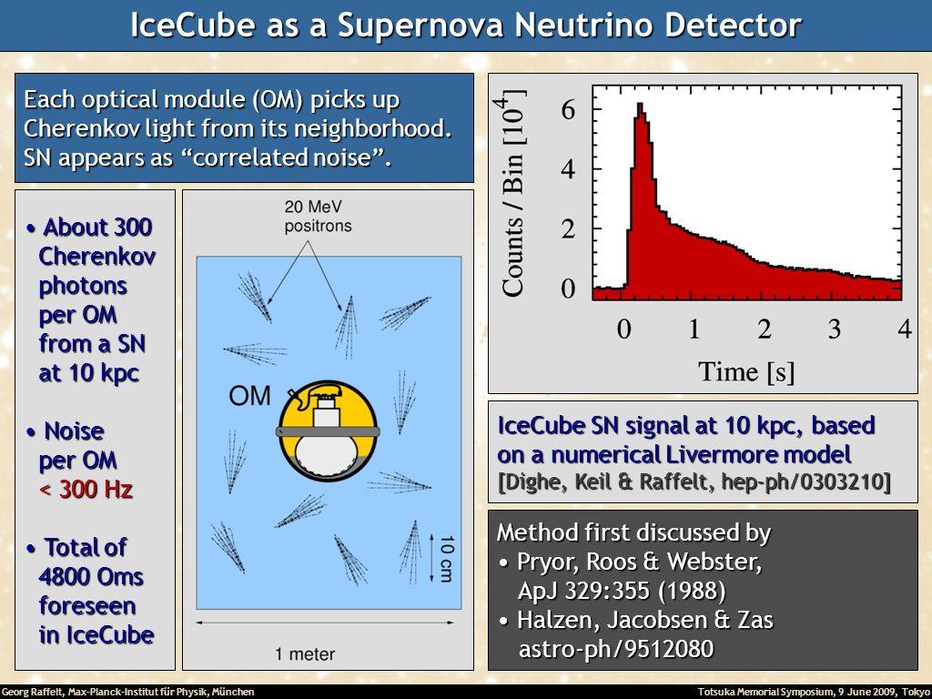 Georg Raffelt, Max-Planck-Institut für Physik, München Totsuka Memorial Symposium, 9 June 2009, Tokyo IceCube as a Supernova Neutrino Detector Each op