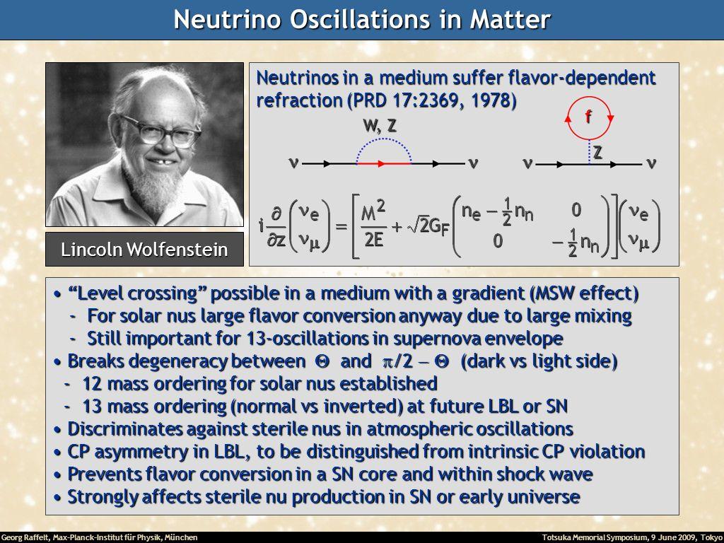 Georg Raffelt, Max-Planck-Institut für Physik, München Totsuka Memorial Symposium, 9 June 2009, Tokyo Neutrino Oscillations in Matter Level crossing p
