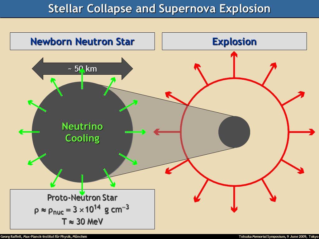 Georg Raffelt, Max-Planck-Institut für Physik, München Totsuka Memorial Symposium, 9 June 2009, Tokyo Collapse (implosion) Explosion Newborn Neutron Star ~ 50 km Proto-Neutron Star nuc 3 10 14 g cm 3 nuc 3 10 14 g cm 3 T 30 MeV NeutrinoCooling Stellar Collapse and Supernova Explosion