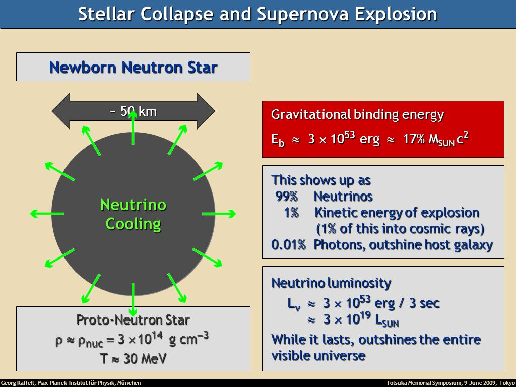 Georg Raffelt, Max-Planck-Institut für Physik, München Totsuka Memorial Symposium, 9 June 2009, Tokyo Newborn Neutron Star ~ 50 km Proto-Neutron Star nuc g cm 3 nuc g cm 3 T 30 MeV NeutrinoCooling Gravitational binding energy Gravitational binding energy E b erg 17% M SUN c 2 E b erg 17% M SUN c 2 This shows up as This shows up as 99% Neutrinos 99% Neutrinos 1% Kinetic energy of explosion 1% Kinetic energy of explosion (1% of this into cosmic rays) (1% of this into cosmic rays) 0.01% Photons, outshine host galaxy 0.01% Photons, outshine host galaxy Neutrino luminosity Neutrino luminosity L erg / 3 sec L erg / 3 sec L SUN L SUN While it lasts, outshines the entire While it lasts, outshines the entire visible universe visible universe Stellar Collapse and Supernova Explosion