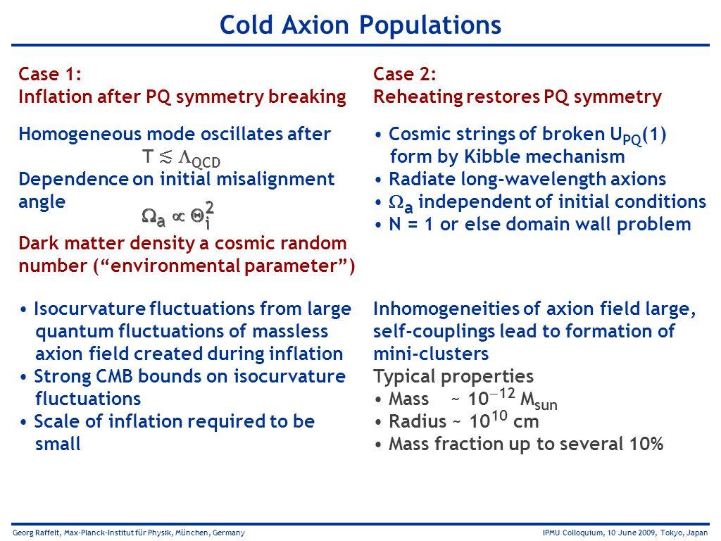 Georg Raffelt, Max-Planck-Institut für Physik, München, Germany IPMU Colloquium, 10 June 2009, Tokyo, Japan Cold Axion Populations Case 2: Reheating r