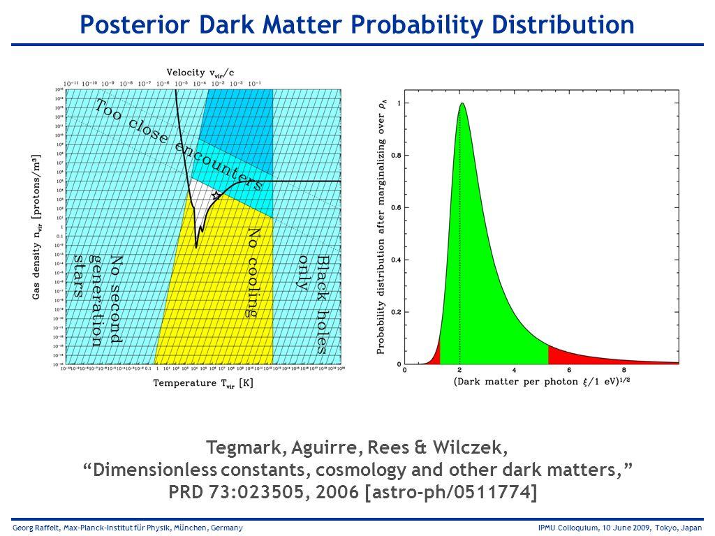 Georg Raffelt, Max-Planck-Institut für Physik, München, Germany IPMU Colloquium, 10 June 2009, Tokyo, Japan Posterior Dark Matter Probability Distribu
