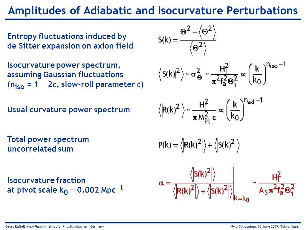 Georg Raffelt, Max-Planck-Institut für Physik, München, Germany IPMU Colloquium, 10 June 2009, Tokyo, Japan Amplitudes of Adiabatic and Isocurvature P