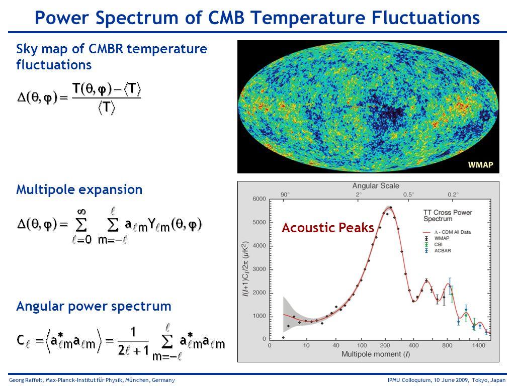 Georg Raffelt, Max-Planck-Institut für Physik, München, Germany IPMU Colloquium, 10 June 2009, Tokyo, Japan Sky map of CMBR temperature fluctuations P
