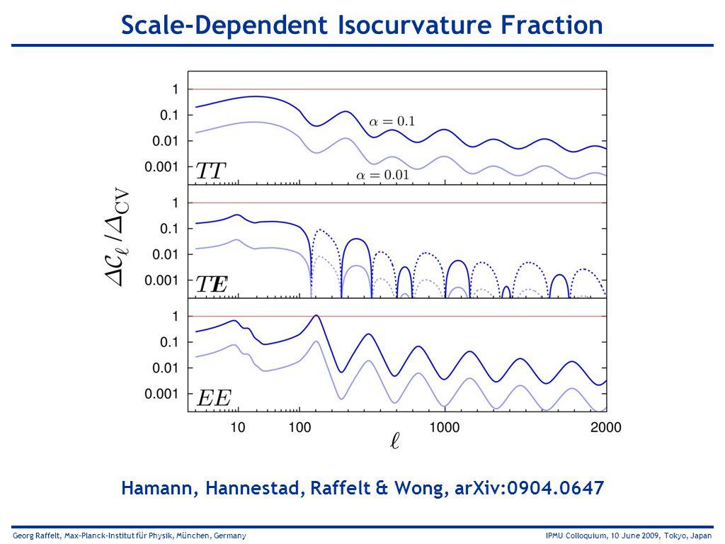 Georg Raffelt, Max-Planck-Institut für Physik, München, Germany IPMU Colloquium, 10 June 2009, Tokyo, Japan Scale-Dependent Isocurvature Fraction Hama