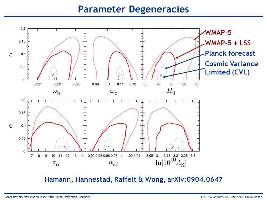Georg Raffelt, Max-Planck-Institut für Physik, München, Germany IPMU Colloquium, 10 June 2009, Tokyo, Japan Parameter Degeneracies Hamann, Hannestad,