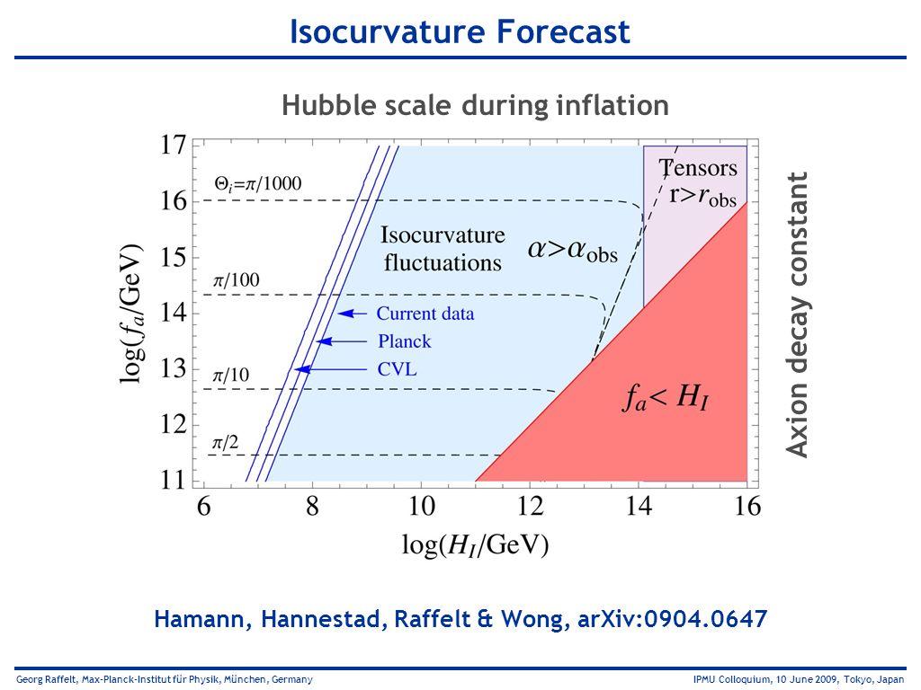 Georg Raffelt, Max-Planck-Institut für Physik, München, Germany IPMU Colloquium, 10 June 2009, Tokyo, Japan Isocurvature Forecast Hamann, Hannestad, R