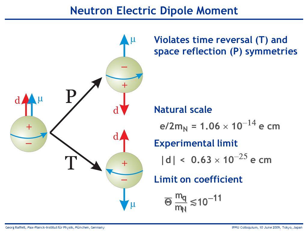 Georg Raffelt, Max-Planck-Institut für Physik, München, Germany IPMU Colloquium, 10 June 2009, Tokyo, Japan Neutron Electric Dipole Moment Violates ti